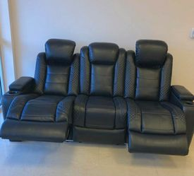 ☕Sit back and relax😌Party Time Midnight LED Power Reclining Sofa with Adjustable Headrest by Ashley for Sale in Philadelphia,  PA