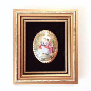 Royal Park Hand Painting on Fine Bone China Antique Scene Framed on Velvet Cameo England #4 for Sale in Los Angeles, CA