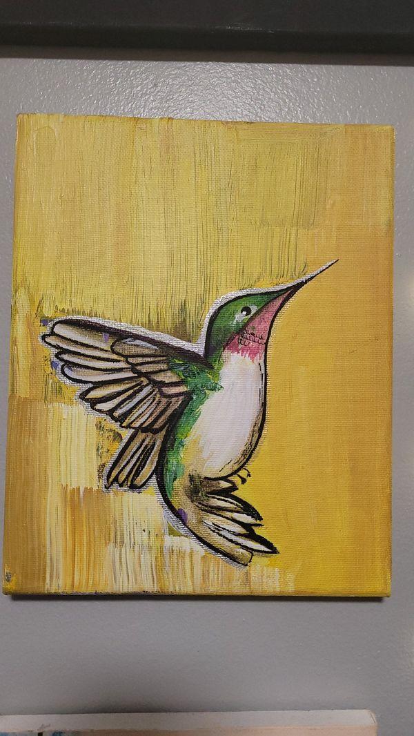 Acrylic humming bird painting