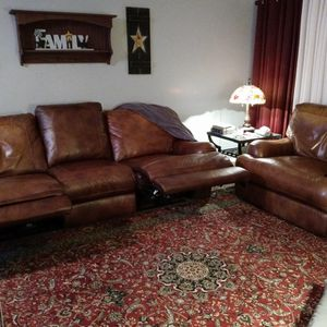 Real Genuine Dark Tan Leather Double-wide Chair With Couch All Reclined for Sale in Canton, MI