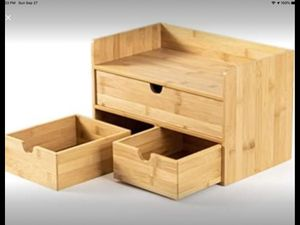 Bamboo Desk Organizer - Mini Bamboo Desk Drawer Tabletop Storage (3 Drawer with shelf) for Sale in Riverside, CA