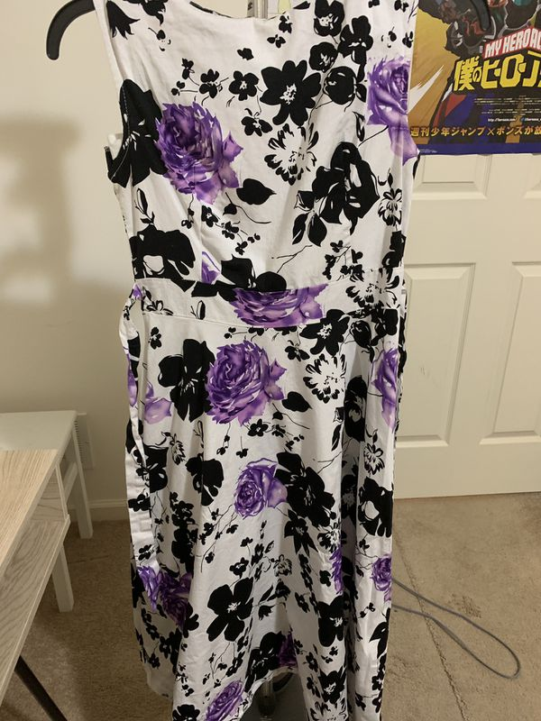 Acevog Size Large black and purple flowers printed 60s inspire dress