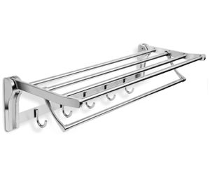 Bath Towel Rack 23 Inch Bathroom Shelves, Foldable Wall Mounted Double Towel Holder with Towel Bar, Polished 304 Stainless Steel Towel Shelf for Sale in Claremont, CA