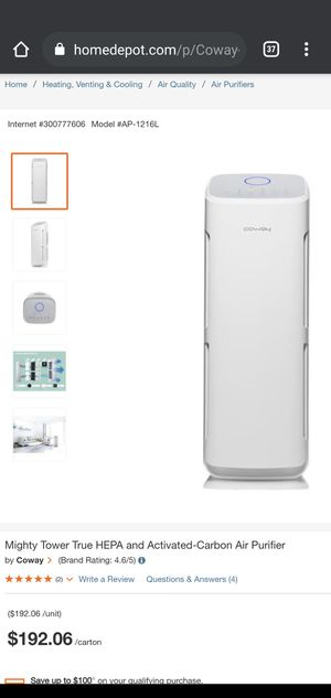 Mighty Tower True HEPA and Activated-Carbon Air Purifier for Sale in Huntington Park, CA