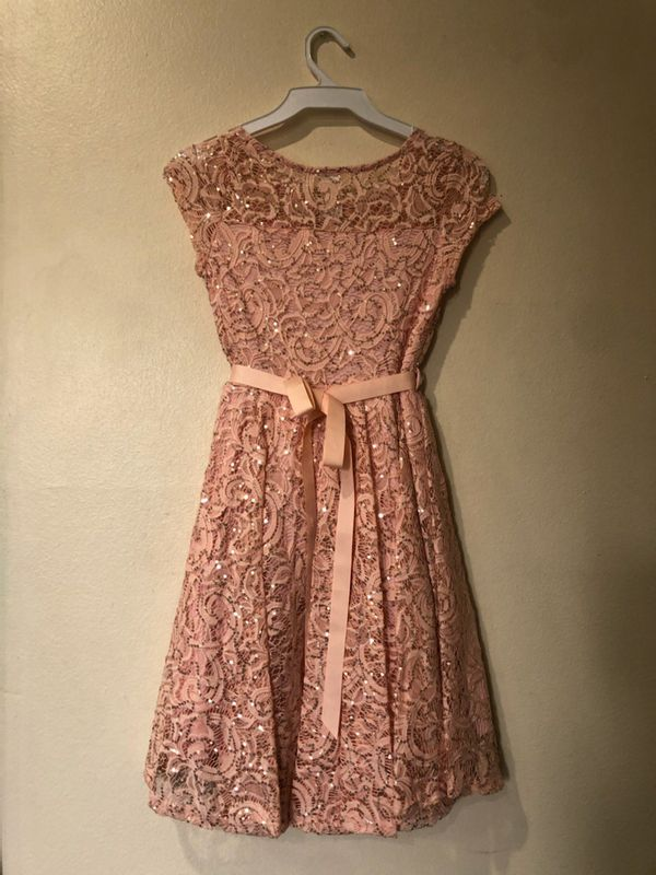 New Peach Lace Girls Dress