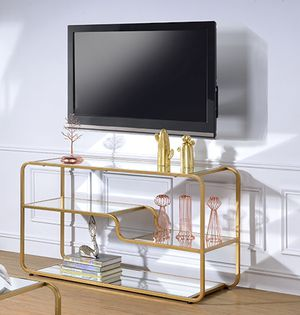 New Astrid mirrored shelf tv stand console table for Sale in Miami, FL