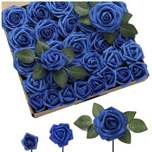 DerBlue 60pcs Three Different Sizes Artificial Roses Flowers Foam Roses Bulk w/Stem for DIY Wedding Bouquets Corsages Centerpieces Arrangements Baby S for Sale in Brooklyn, NY