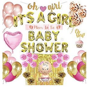 NEW!! Baby Shower Decorations for Girl kit- Premium Set of 56 White, Pink and Gold Party Supplies, Oh Girl, It's a Girl Banner, Photo Booth, Confett for Sale in Stuart, FL