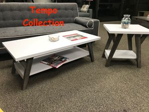 NEW IN THE BOX. JUNE COFFEE TABLE AND END TABLE, WHITE AND DISTRESSED GREY COLOR, SKU# TC161834CET for Sale in Santa Ana, CA