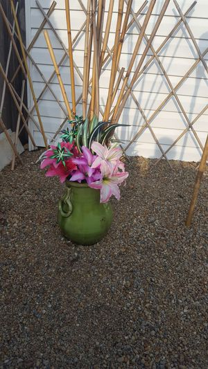 Hawaiian vase theme bamboo and lilies artificial plants vase for Sale in Grafton, OH