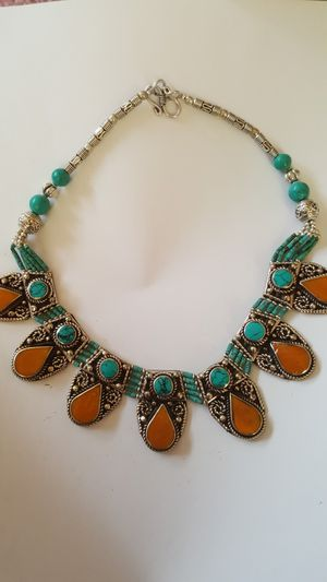 STERLING SILVER and turquoise and amber one of a kind necklace for Sale in Boca Raton, FL