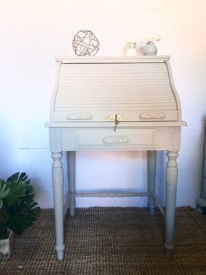 Wooden secretary roll top desk In a gray color, distress paint, vintage with his keys to close the top for Sale in Los Angeles, CA