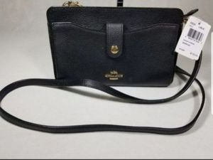 NWT Coach Messenger With Pop-up Pouch BLACK pebble Leather CROSSBODY bag purse phone wallet $175 for Sale in Garden Grove, CA