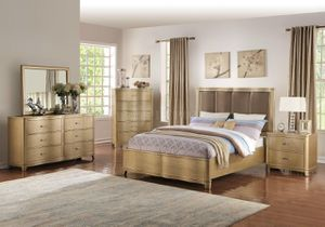 🌟THE BEST FURNITURE SALE 🌟 GLAM GOLDEN WOOD FINISH .🌟🌟Bedroom set: Queen bed +Dresser +Mirror**Mattress &Chest & Nightstand Not Included**🌟🌟 for Sale in Irvine, CA