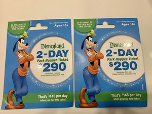 2 Disneyland 2 Day Tickets Both Parks! for Sale in Santa Ana, CA