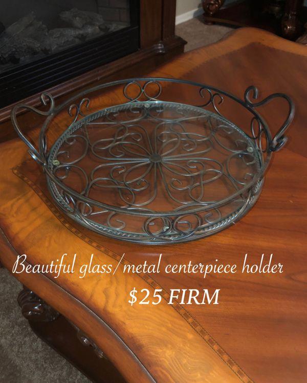 New big glass centerpiece holder $25 Firm