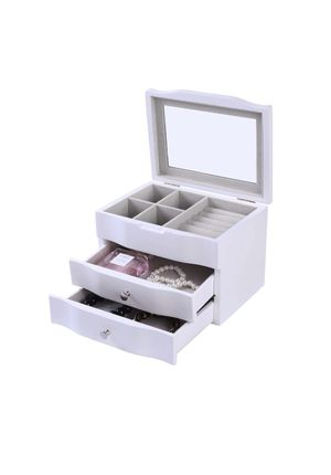 Jewelry Box Earrings Organizer with 2 Drawer, Large Mirror Jewelry Storage Case (White) for Sale in Monterey Park, CA