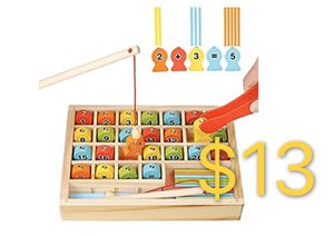 Wooden Magnetic Fishing Math Game, Montessori Learning Toys Fine Motor Skills Color Sorting Number Counting Preschool Education with 2 Fishing Poles for Sale in Rosemead, CA