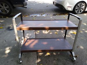 2- Tier Metal/Wood Rolling Cart for Sale in North Highlands, CA