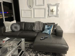 Gray leather sectional couch for Sale in Miami, FL