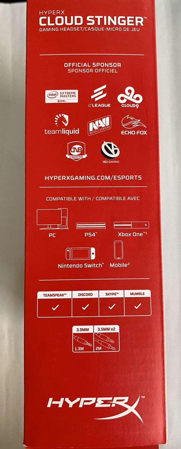 HyperX - Cloud Stinger Wired Stereo Gaming Headset for PC, PS4, Xbox One*, Nintendo Wii U, Mobile Devices - Red/Black NEW NEVER USED