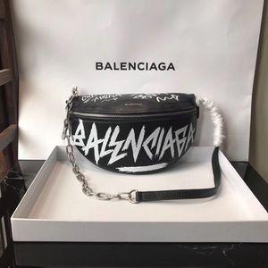 Balenciaga graffiti black leather waist bag / Fanny pack for Sale in New York, NY