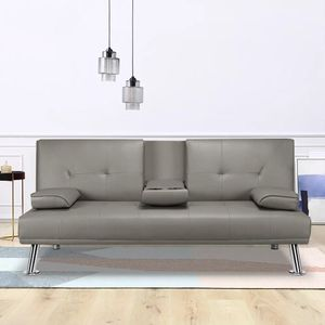 Home Futon Sofa Bed Modern Faux Leather Fold Up and Down Recliner Couch, Gray for Sale in Chino, CA