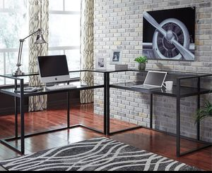 Ashley metal and glass black desk good condition for Sale in Peoria, IL