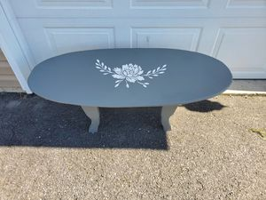 Freshly redone coffee table. 48 long 21 wide grey with white floral stencil accent for Sale in Martinsburg, WV