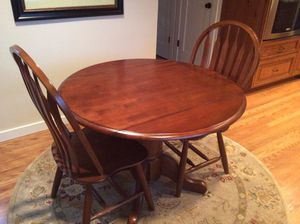 3 piece drop leaf wooden table and chairs for Sale in Issaquah, WA