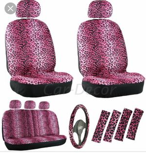Pink Cheetah print car seat covers and accessories. NEVER BEEN USED! still in the package and it even comes with the mats for Sale in TX, US