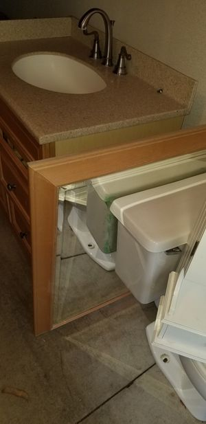 Vanity sink, mirror and wall hung cupboard for Sale in Lake Forest, CA