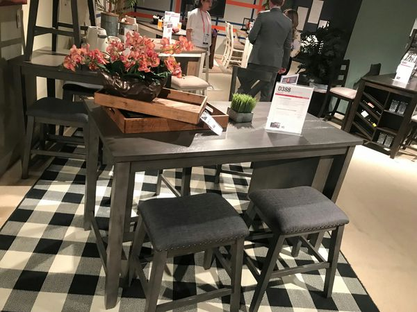 Ashley Furniture Counter Height Dining Set, Grey Finish