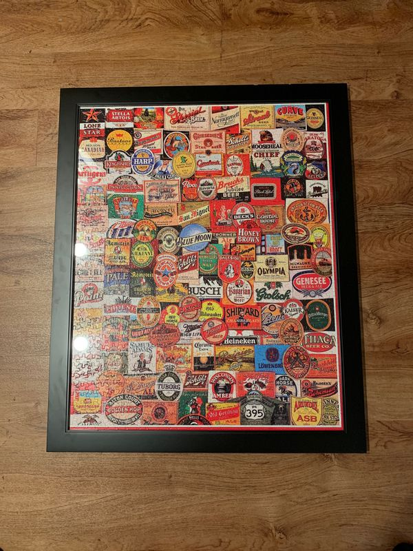 Framed Beer Brands Puzzle Picture