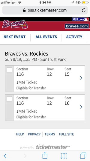 Two Braves tickets available for Sale in Doraville, GA