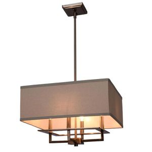 4-Light Brushed Nickel Chandelier with Square Light Gray Linen Shade for Sale in Newark, NJ