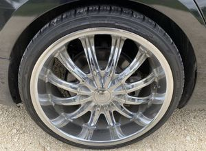 "20"" Chrome Rims Universal 5 Lug willing to Trade for Stock Cadillac ATS Stock Rims for Sale in Houston, TX"