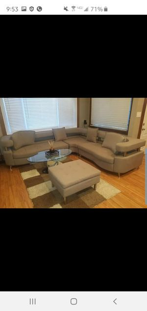 Modern Contemporary 3-PC Sectional Couch/Sofa + Ottoman & 4 Pillows for Sale in Linden, NJ