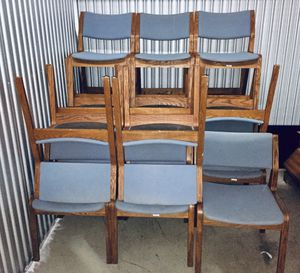 12 free matching chairs oak frame upholstered blue seat for Sale in Valley View, OH