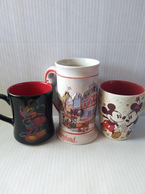 Vintage DISNEY Stein Mug Disneyland & Disney Mickey Minnie Mouse & Pluto Dancing Coffee Mugs Cups (Set of 3) for Sale in Wilmington, CA