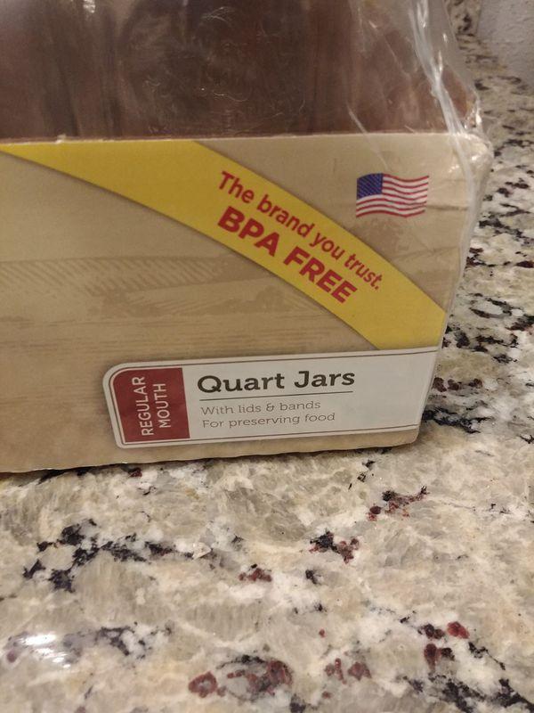 Kerr Regular Mouth Quart Canning Mason Jars, Lids & Bands Clear Glass, 32 Oz, 12 Pk