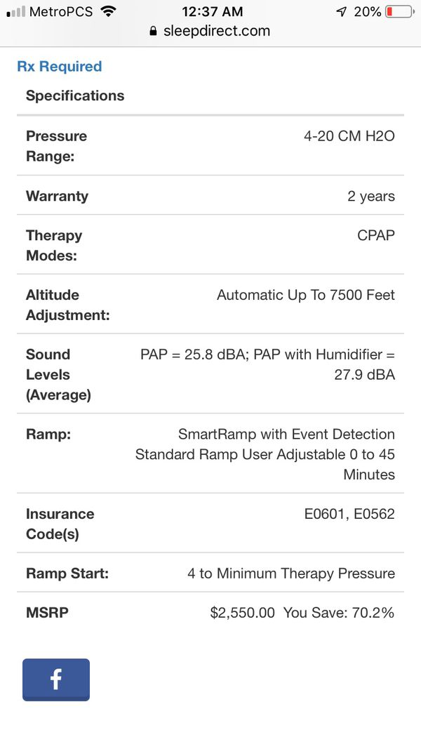 Philips CPAP Dream Station machine retails without insurance $650-850