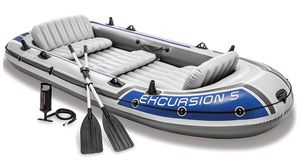 5-Person Inflatable Boat Set with Aluminum Oars and High Output Air Pump (Latest Model) for Sale in undefined