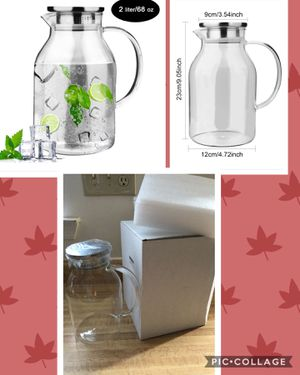 Brand new 68 oz Glass Pitcher, OAMCEG Glass Water Jug/Carafe with Drip-Free Stainless Steel Lid (pick up only) for Sale in Springfield, VA