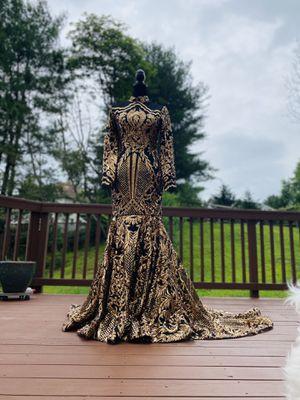 Mermaid dress prom dress wedding dress black and gold rhinestones sequins long sleeve long train turtleneck slim fit long dress for Sale in Redland, MD