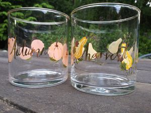 Autumn Harvest Set of 2 Whiskey Tumblers Candle Holders Halloween Gold Rimmed for Sale in Tigard, OR