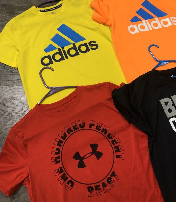 Boys Size Large UA and Adidas Shirts
