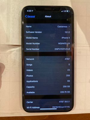 iPhone X 256 GB Unlocked Carrier for Sale in Trenton, NJ