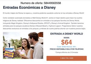 Boletos para Walt Disney!!!!! 64.00 for Sale in Coral Gables, FL