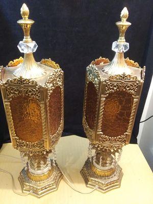 Vintage Hollywood Regency Gold Crystal Prism Lamps for Sale in Chicago, IL